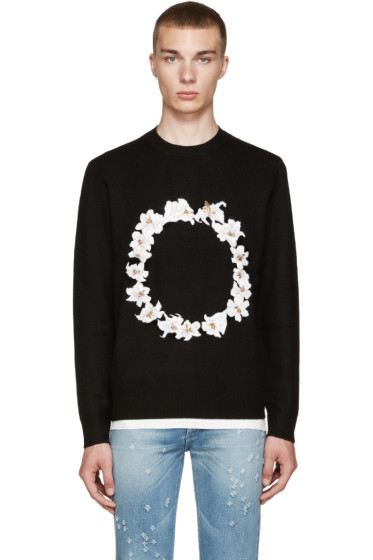 Givenchy - Black Floral Embroidered Sweater