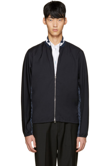 3.1 Phillip Lim - Navy Nylon Zip-Up Sweater