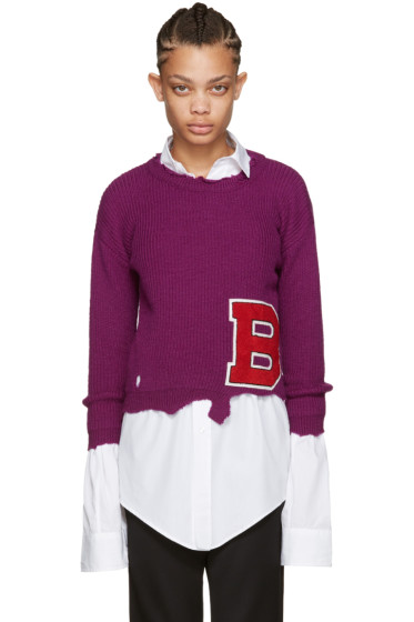 Raf Simons - Purple Destroyed 'B' Sweater