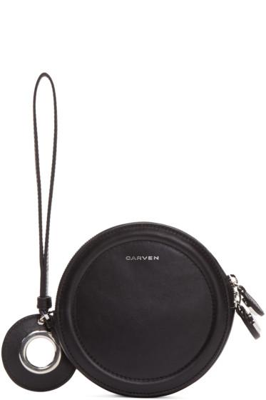 Carven - Black Circular Zip Pouch