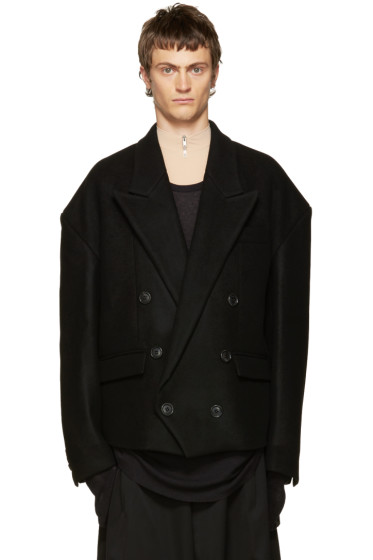 Juun.J - Black Double-Breasted Coat