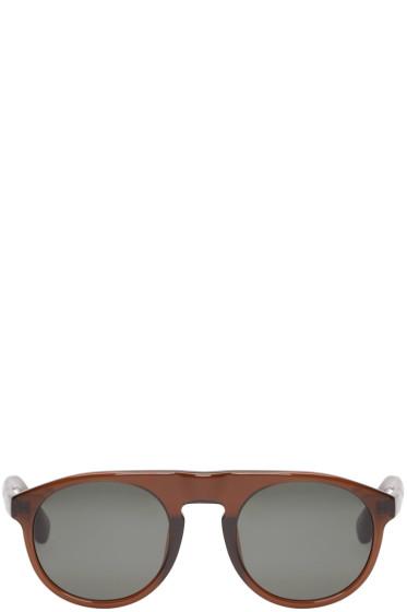 Dries Van Noten - Brown Linda Farrow Edition Flat-Top Sunglasses