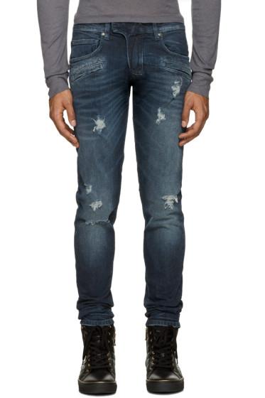 Pierre Balmain - Indigo Ripped Biker Jeans