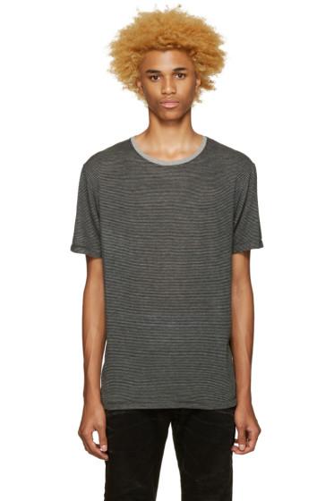 Pierre Balmain - Black & Grey Striped T-Shirt