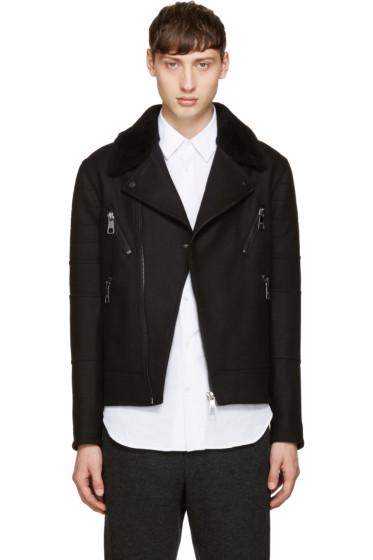 Neil Barrett - Black Shearling Biker Jacket