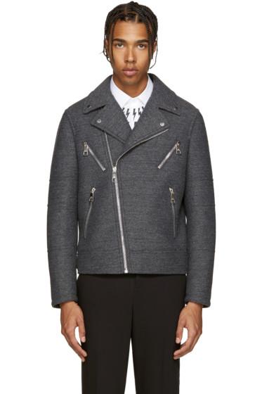 Neil Barrett - Grey Wool Biker Jacket