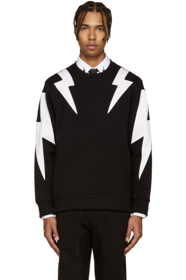 Neil Barrett - Black & White Thunderbolt Pullover