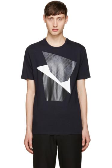 Neil Barrett - Navy Modernist Blocking T-Shirt