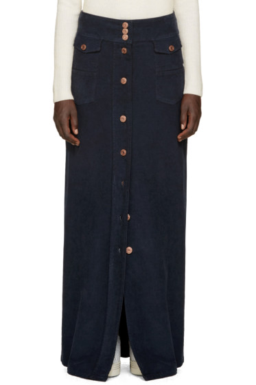 See by Chloé - Navy Long Button-Up Skirt