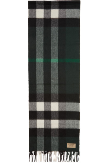 Burberry - Green Cashmere Check Scarf