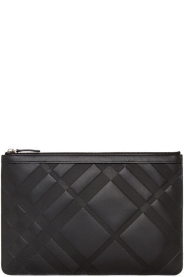 Burberry - Black Embossed Check Zip Pouch