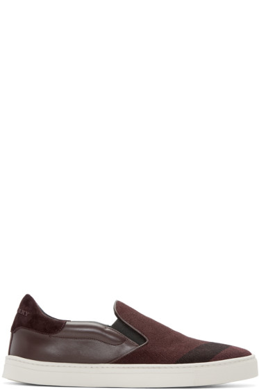 Burberry - Burgundy Copford Slip-On Sneakers
