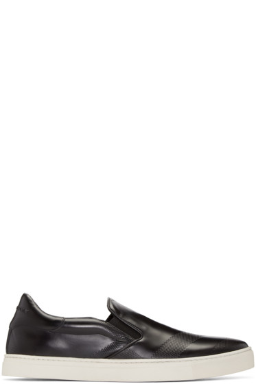 Burberry - Black Leather Slip-On Sneakers