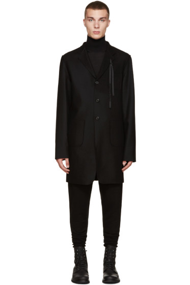 Ann Demeulemeester - Black Wool Ribbon Coat