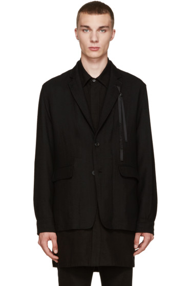 Ann Demeulemeester - Black Wool Ribbon Blazer