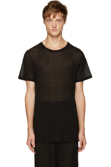 Ann Demeulemeester - Black Ribbed T-Shirt