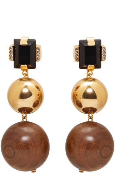 Marni - Gold Stone & Wood Clip-On Earrings