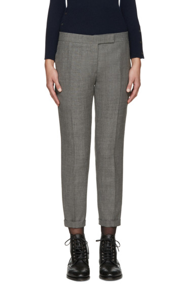 Thom Browne - Grey Wool Skinny Trousers