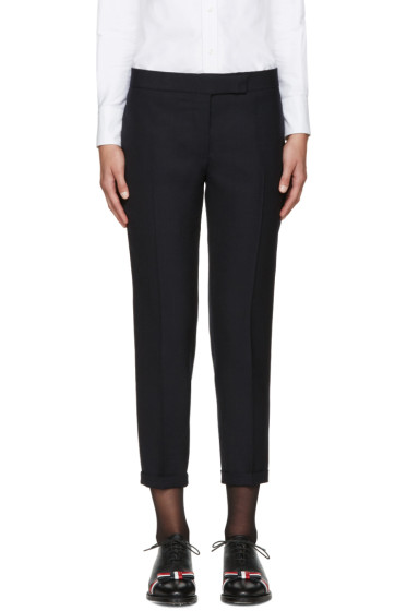 Thom Browne - Navy Wool Skinny Trousers