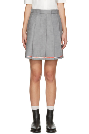 Thom Browne - Grey Pleated Miniskirt