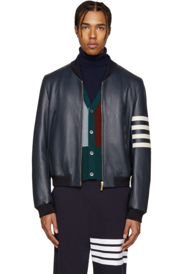 Thom Browne - Navy Leather Varsity Bomber Jacket