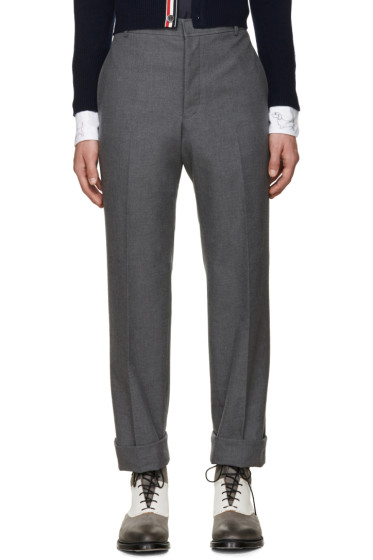 Thom Browne - Grey Uncuffed Trousers