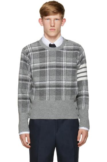Thom Browne - Grey Plaid Sweater