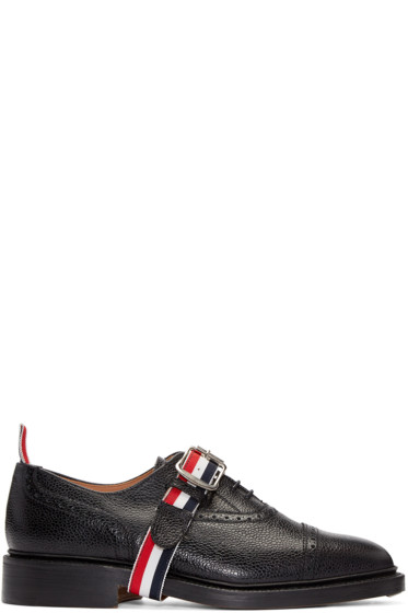 Thom Browne - Black Leather Strap Brogues