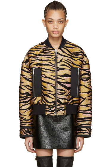 Kenzo - Beige Tiger Stripes Bomber Jacket