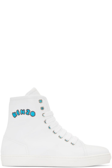 Kenzo - White Leather High-Top Sneakers