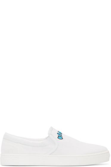 Kenzo - White Canvas Slip-On Sneakers