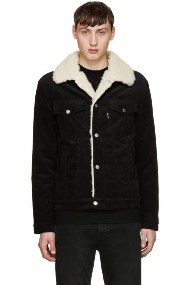 Maison Kitsuné - Black Corduroy Sherpa Jacket