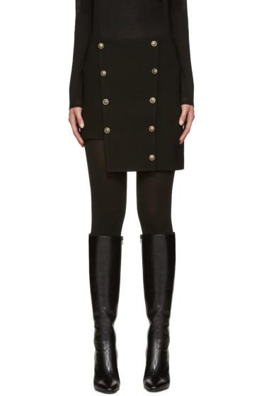 Versus - Black Asymmetric Buttoned Miniskirt