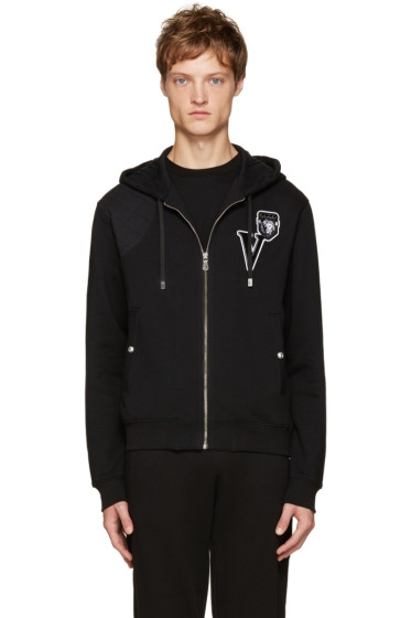 Versus - Black Embroidered Logo Zip Hoodie