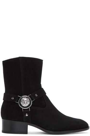 Versus - Black Suede Medusa Harness Boots