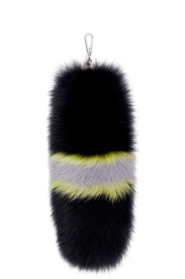 Versace - Navy Fox Fur Keychain
