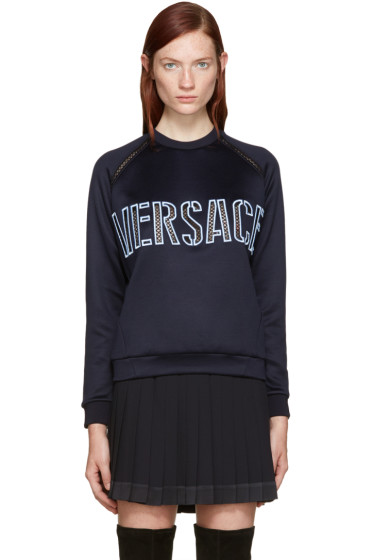 Versace - Navy Embroidered Mesh Logo Pullover