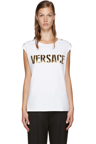 Versace - White & Gold Logo Tank Top