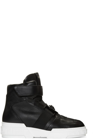 Versace - Black Leather High-Top Sneakers