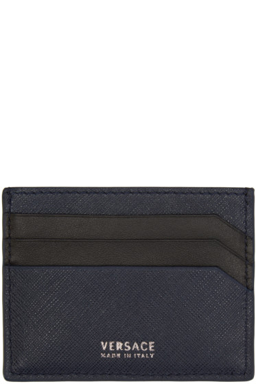 Versace - Navy Leather Card Holder
