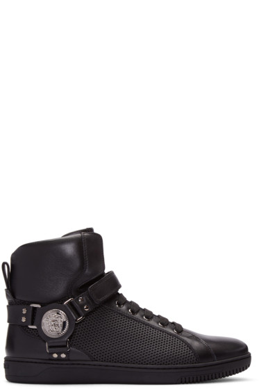 Versace - Black Leather & Mesh High-Top Sneakers