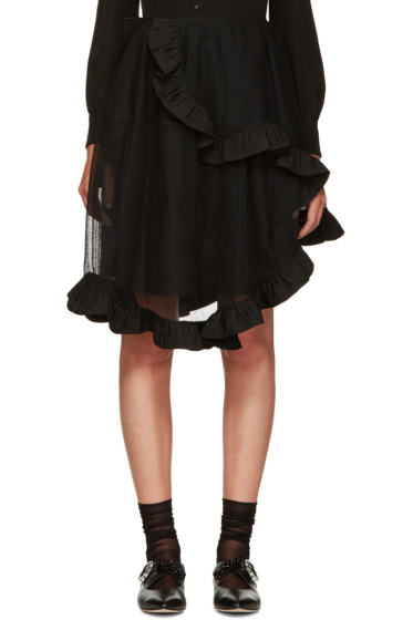 Simone Rocha - Black Sheer Wrap Skirt