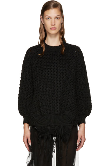 Simone Rocha - Black Fringe Knit Sweater