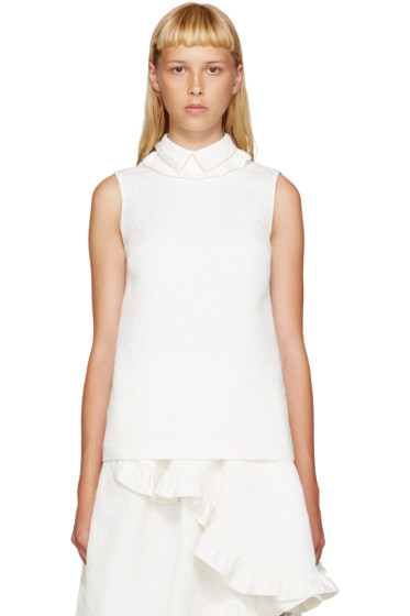 Simone Rocha - Ivory Beaded Collar Blouse