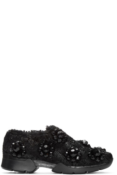 Simone Rocha - Black Floral Tweed Sneakers