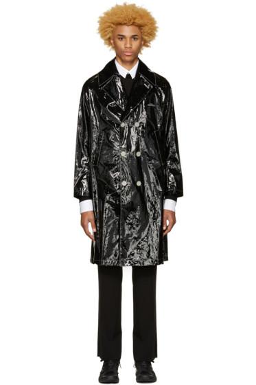 Undercover - Black Glossy Logo Trench Coat