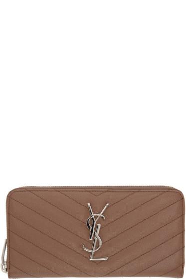 Saint Laurent - Brown Quilted Monogram Wallet