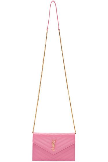 Saint Laurent - Pink Monogram Envelope Chain Wallet