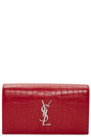 Saint Laurent - Red Croc-Embossed Monogram Kate Clutch
