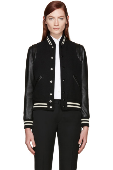 Saint Laurent - Black Wool Teddy Bomber Jacket